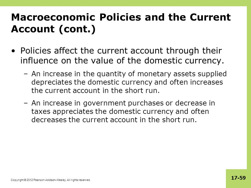 Copyright © 2012 Pearson Addison-Wesley. All rights reserved. 17-59 Macroeconomic Policies and the Current Account (cont.) Policies affect the current