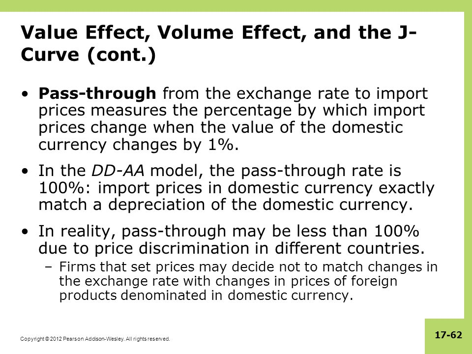 Copyright © 2012 Pearson Addison-Wesley. All rights reserved. 17-62 Value Effect, Volume Effect, and the J- Curve (cont.) Pass-through from the exchan