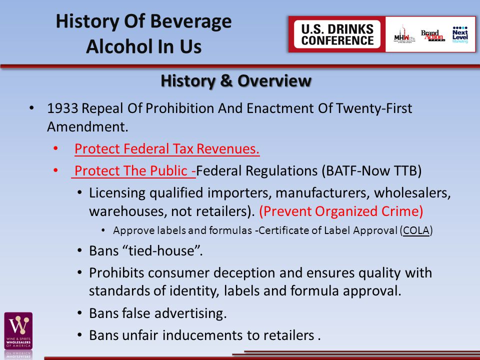 1933 Repeal Of Prohibition And Enactment Of Twenty-First Amendment. Protect Federal Tax Revenues. Protect The Public -Federal Regulations (BATF-Now TT