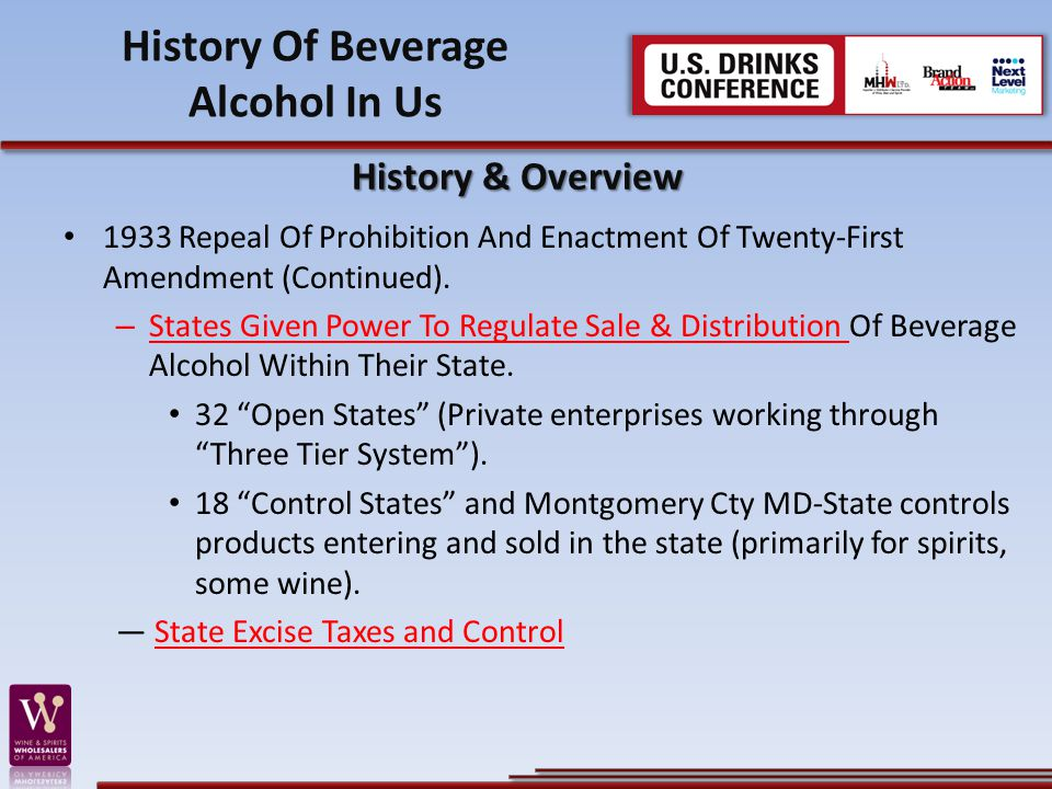 1933 Repeal Of Prohibition And Enactment Of Twenty-First Amendment (Continued). – States Given Power To Regulate Sale & Distribution Of Beverage Alcoh