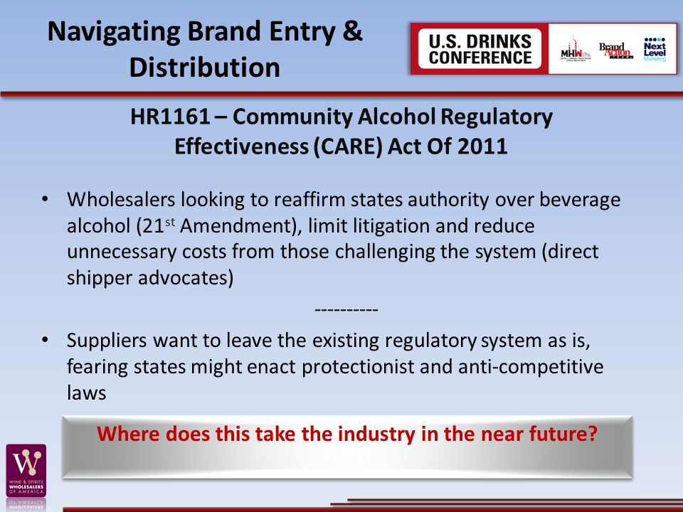 Navigating Brand Entry & Distribution HR1161 – Community Alcohol Regulatory Effectiveness (CARE) Act Of 2011 Wholesalers looking to reaffirm states authority over beverage alcohol (21 st Amendment), limit litigation and reduce unnecessary costs from those challenging the system (direct shipper advocates) ---------- Suppliers want to leave the existing regulatory system as is, fearing states might enact protectionist and anti-competitive laws Where does this take the industry in the near future?