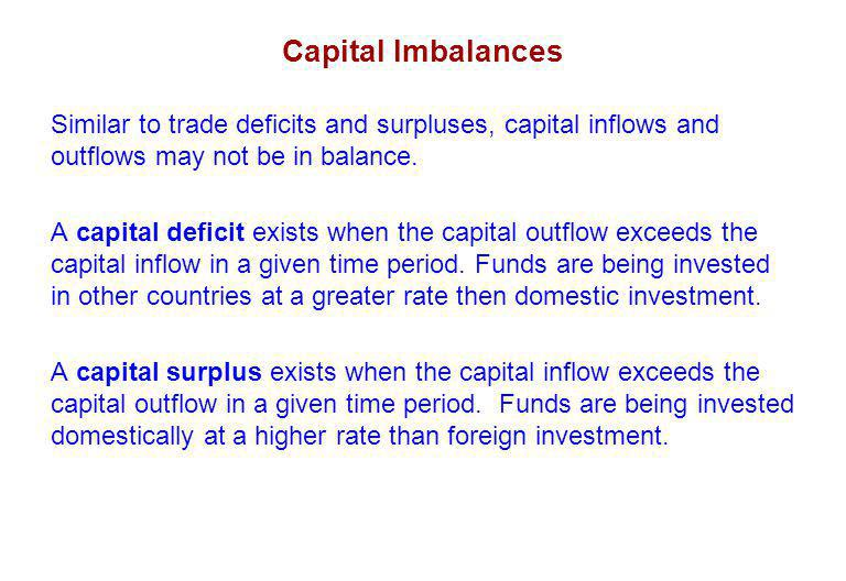 Capital Imbalances Similar to trade deficits and surpluses, capital inflows and outflows may not be in balance.
