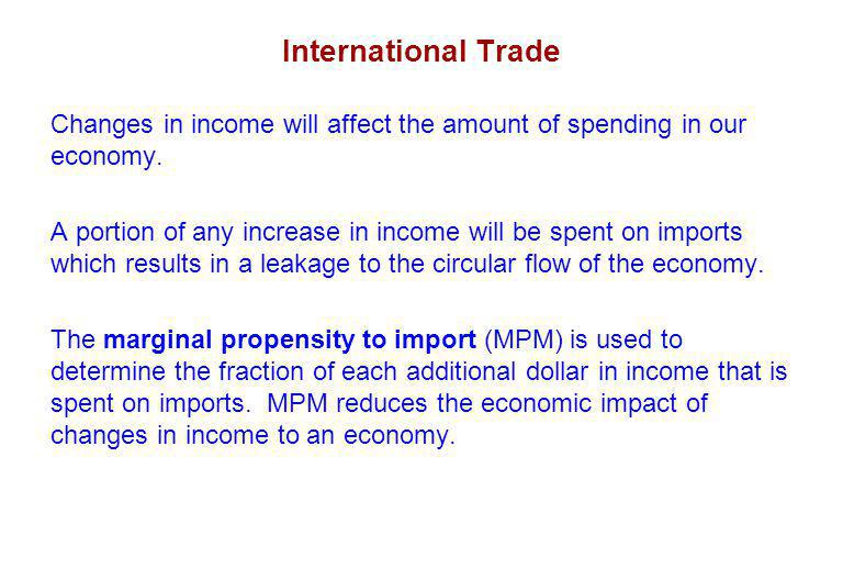 International Trade Changes in income will affect the amount of spending in our economy.