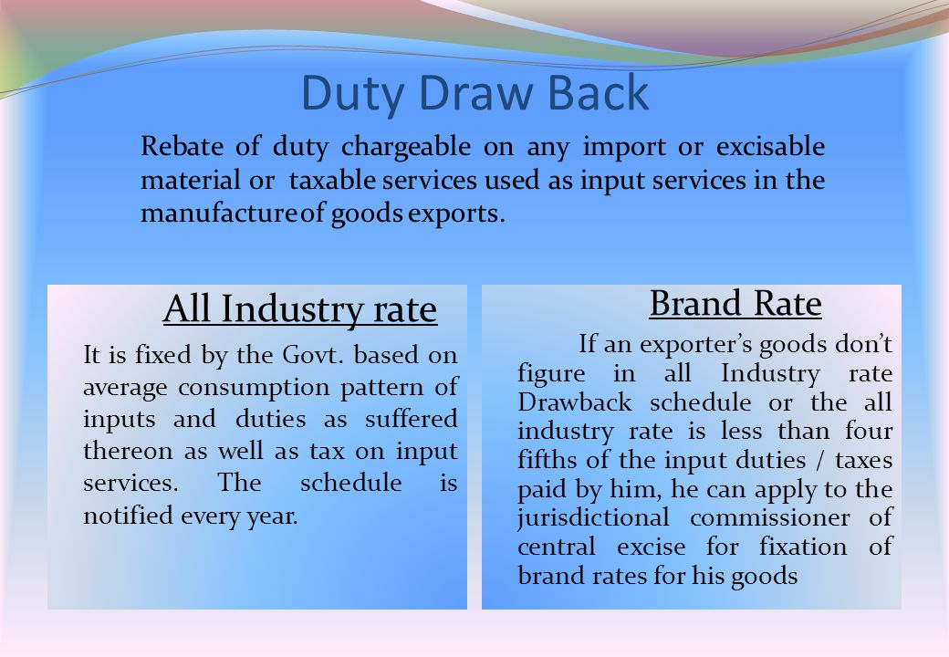Duty Draw Back All Industry rate It is fixed by the Govt. based on average consumption pattern of inputs and duties as suffered thereon as well as tax