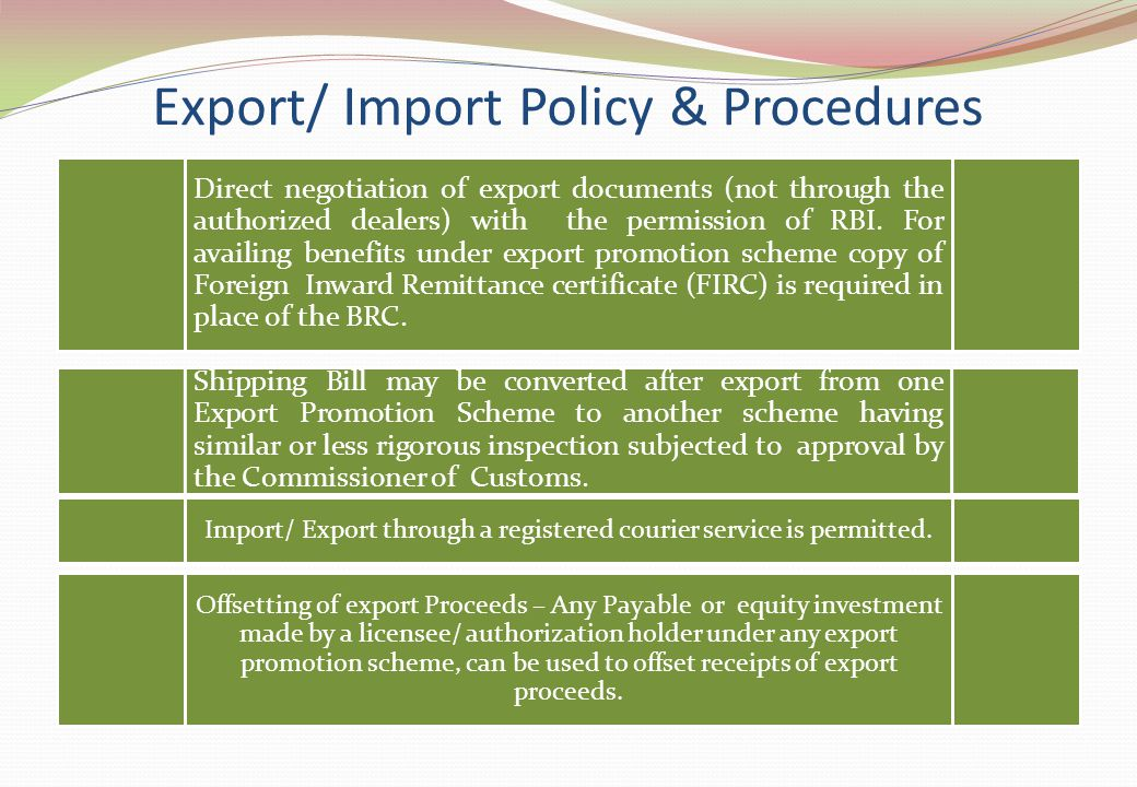 Direct negotiation of export documents (not through the authorized dealers) with the permission of RBI. For availing benefits under export promotion s