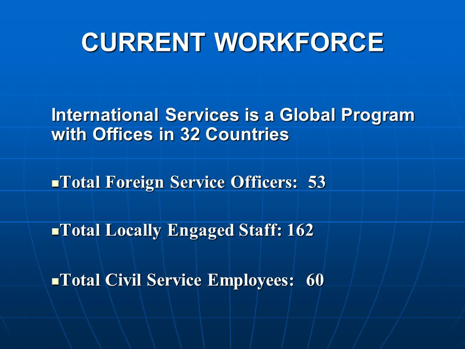 CURRENT WORKFORCE International Services is a Global Program with Offices in 32 Countries Total Foreign Service Officers: 53 Total Foreign Service Officers: 53 Total Locally Engaged Staff: 162 Total Locally Engaged Staff: 162 Total Civil Service Employees: 60 Total Civil Service Employees: 60