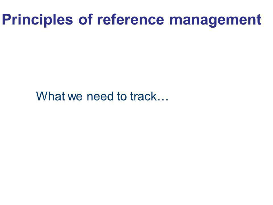 Principles of reference management What we need to track… 13