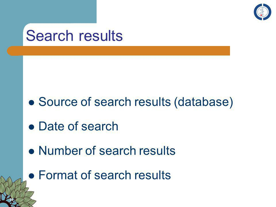 Search results Source of search results (database) Date of search Number of search results Format of search results 14