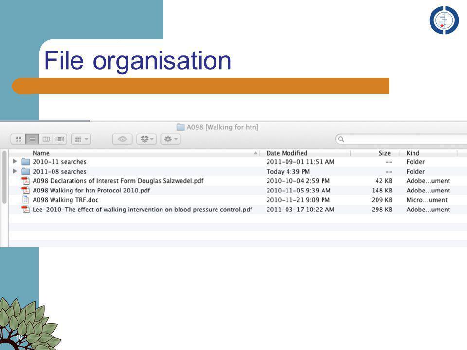 File organisation 16