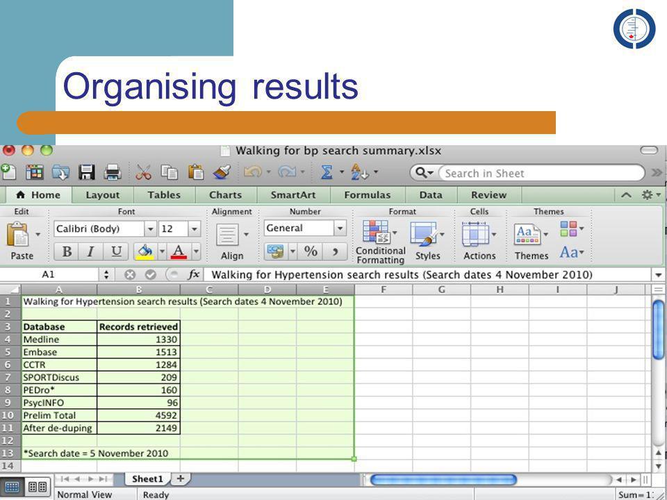Organising results 19