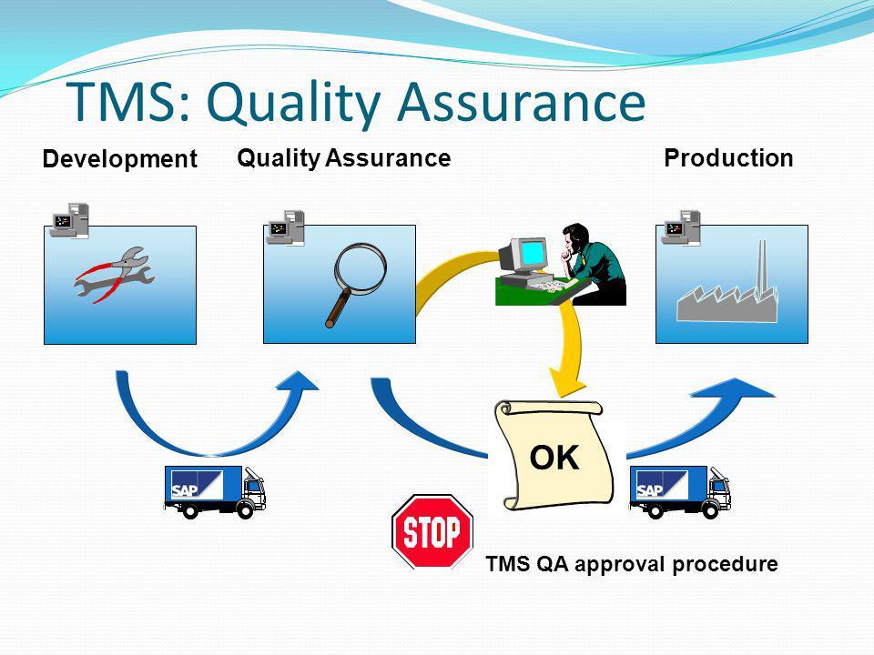 TMS: Quality Assurance Production Development Quality Assurance OK TMS QA approval procedure