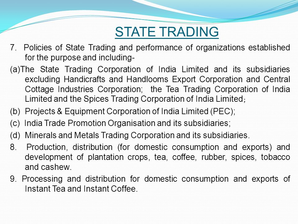 STATE TRADING 7.