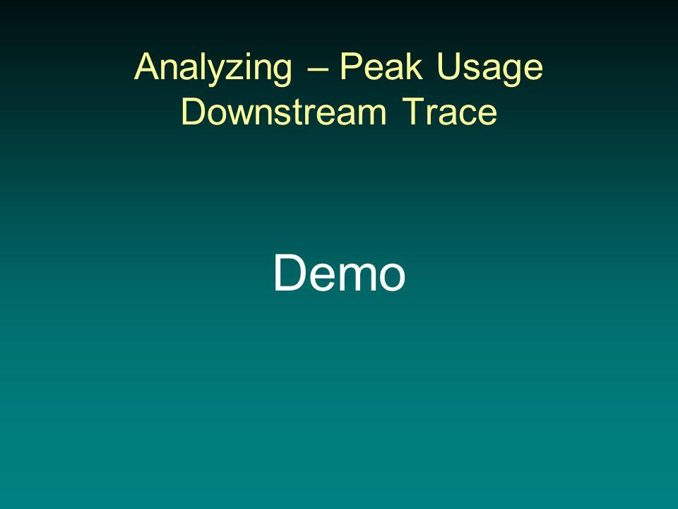 Analyzing – Peak Usage Downstream Trace Demo