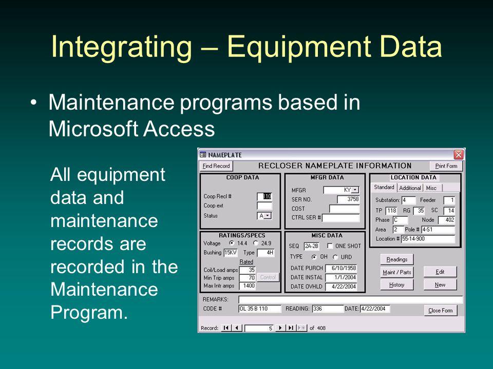 Integrating – Equipment Data Maintenance programs based in Microsoft Access All equipment data and maintenance records are recorded in the Maintenance Program.