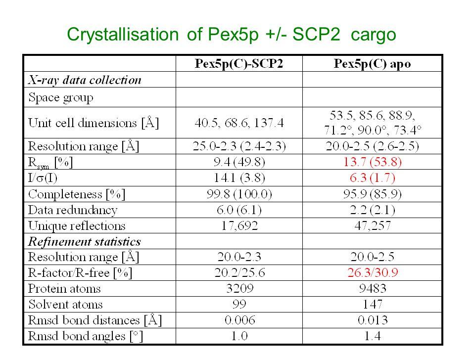 Crystallisation of Pex5p +/- SCP2 cargo