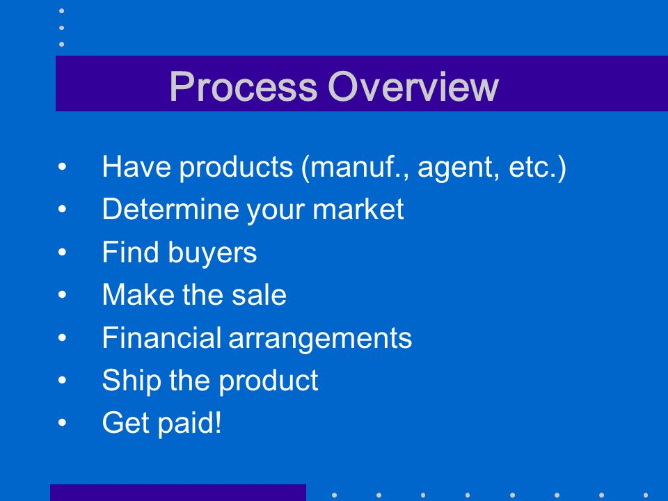 Process Overview Have products (manuf., agent, etc.) Determine your market Find buyers Make the sale Financial arrangements Ship the product Get paid!