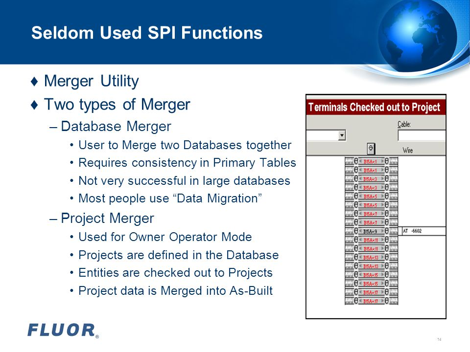 Seldom Used SPI Functions ♦Merger Utility ♦Two types of Merger –Database Merger User to Merge two Databases together Requires consistency in Primary T