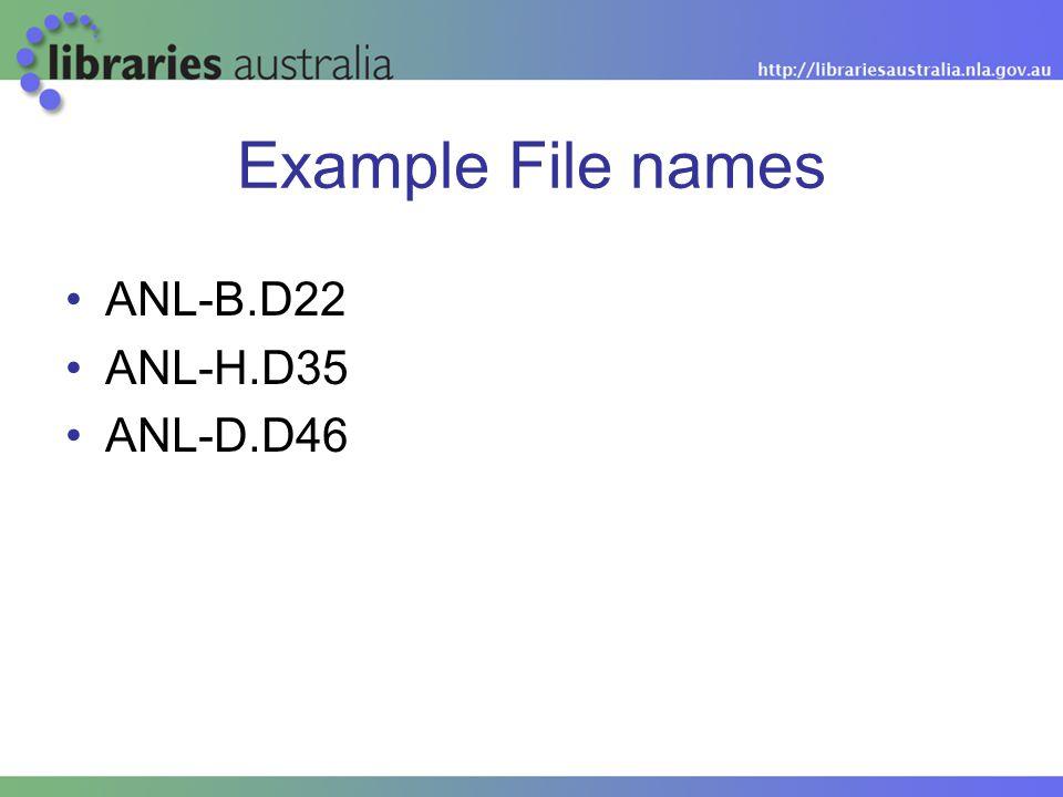 Example File names ANL-B.D22 ANL-H.D35 ANL-D.D46