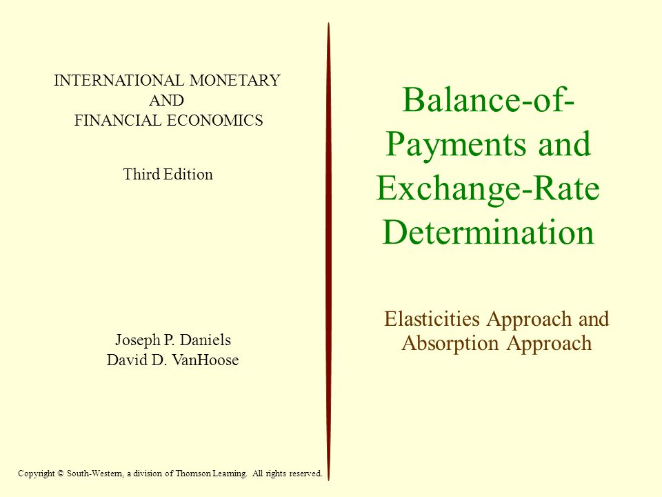 Balance-of- Payments and Exchange-Rate Determination Elasticities Approach and Absorption Approach INTERNATIONAL MONETARY AND FINANCIAL ECONOMICS Third Edition Joseph P.