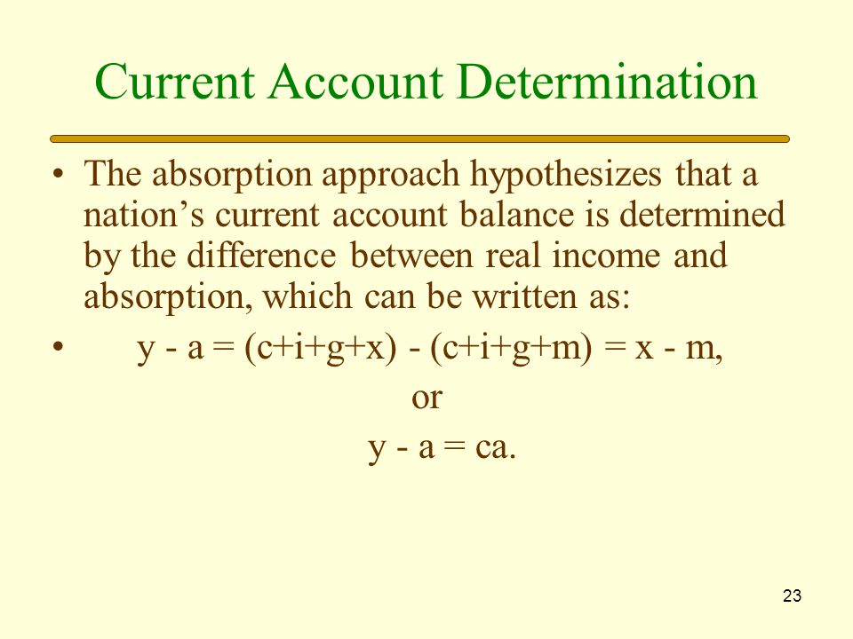 23 Current Account Determination The absorption approach hypothesizes that a nation's current account balance is determined by the difference between real income and absorption, which can be written as: y - a = (c+i+g+x) - (c+i+g+m) = x - m, or y - a = ca.