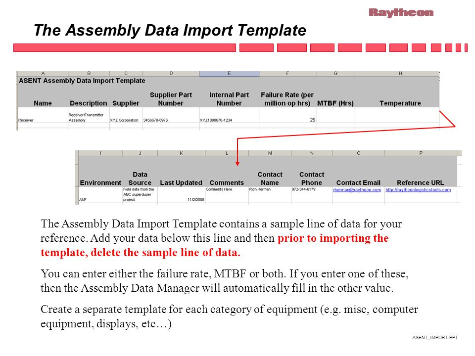 ASENT_IMPORT.PPT The Assembly Data Import Template The Assembly Data Import Template contains a sample line of data for your reference.