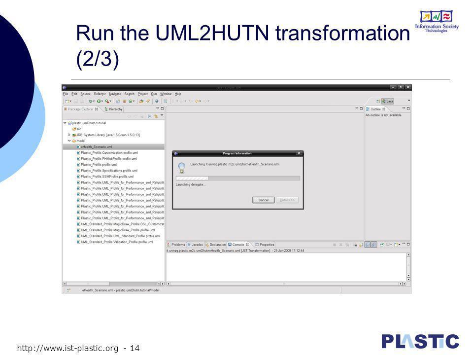 http://www.ist-plastic.org - 14 Run the UML2HUTN transformation (2/3)