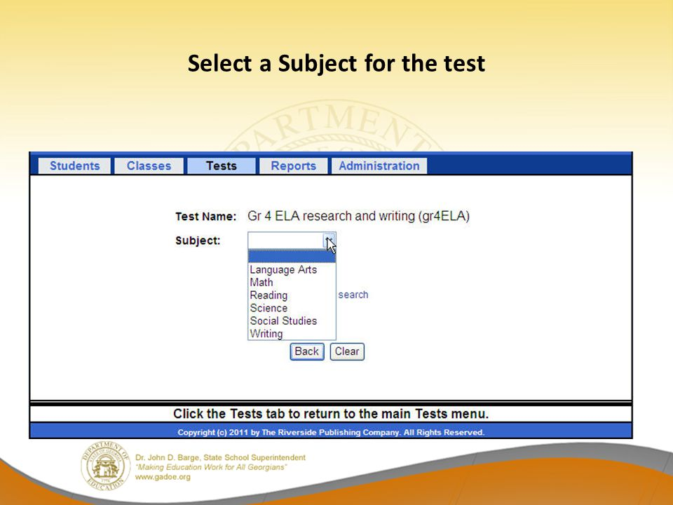 Select a Subject for the test