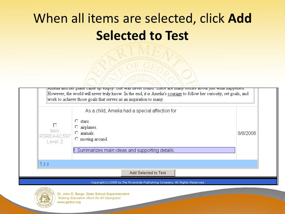 When all items are selected, click Add Selected to Test