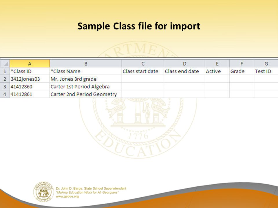Sample Class file for import