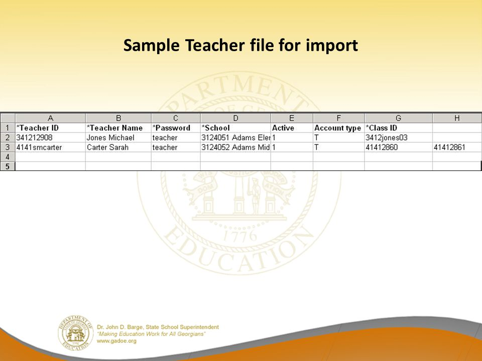Sample Teacher file for import