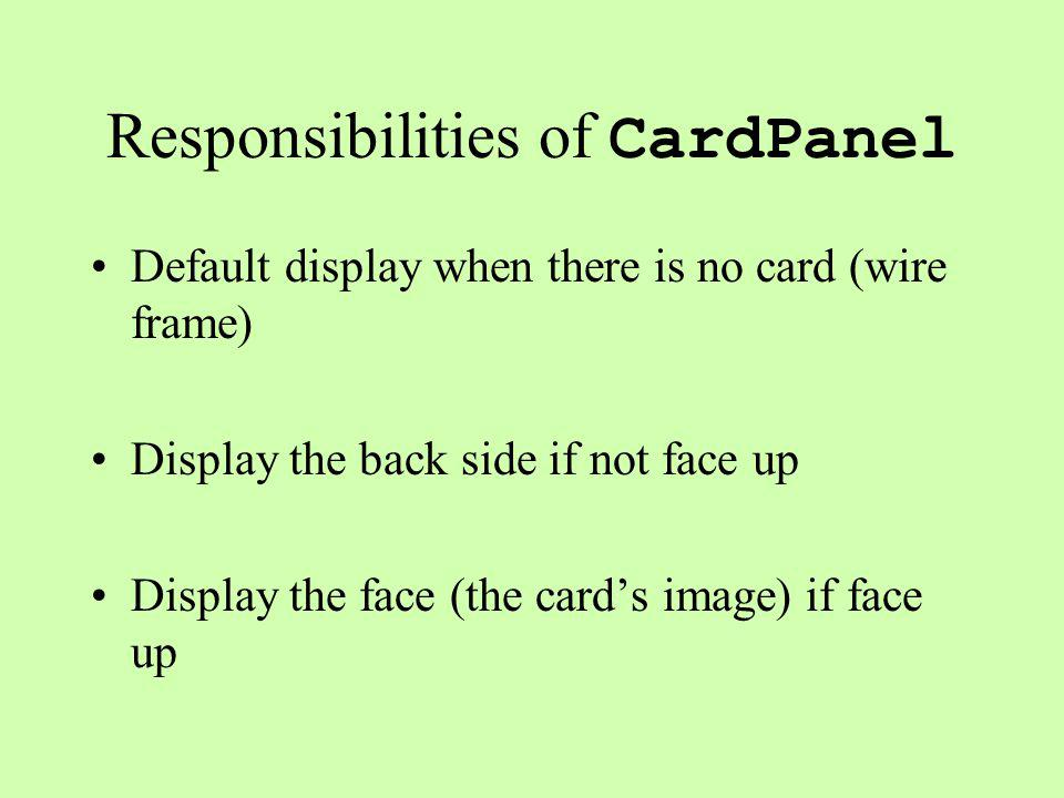Responsibilities of CardPanel Default display when there is no card (wire frame) Display the back side if not face up Display the face (the card's image) if face up