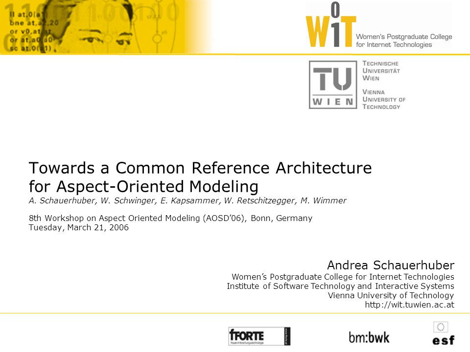 Towards a Common Reference Architecture for Aspect-Oriented Modeling A.