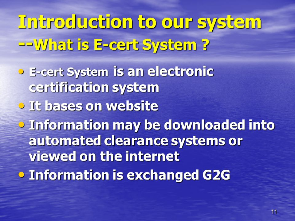 11 Introduction to our system -- What is E-cert System .