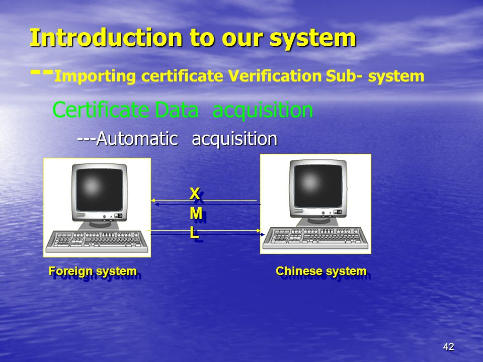 42 Introduction to our system Introduction to our system -- Importing certificate Verification Sub- system Certificate Data acquisition ---Automatic acquisition Foreign system Chinese system Chinese system XMLXMLXMLXML XMLXMLXMLXML