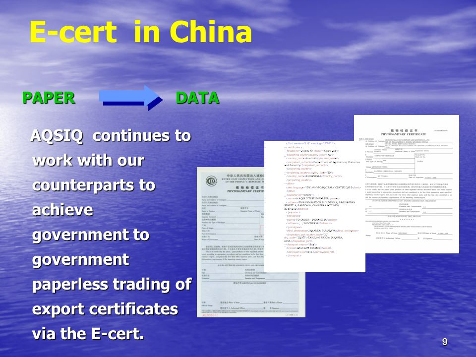 40 Introduction to our system -- Exporting Certificate Verification Sub- system E-cert System utilises XML to define and transmit data E-cert System utilises XML to define and transmit data China uses an XML Schema to validate E- cert Certificates China uses an XML Schema to validate E- cert Certificates SOAP/SMTP Interface – message format ※ It's important that the countries use the same XML Scheme.