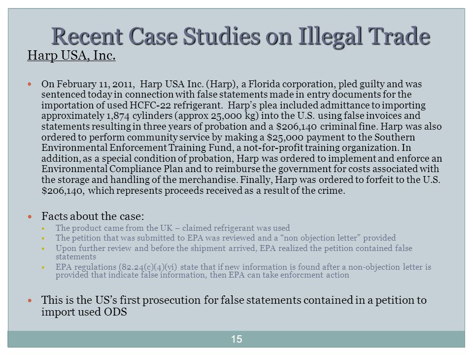 Recent Case Studies on Illegal Trade Harp USA, Inc.