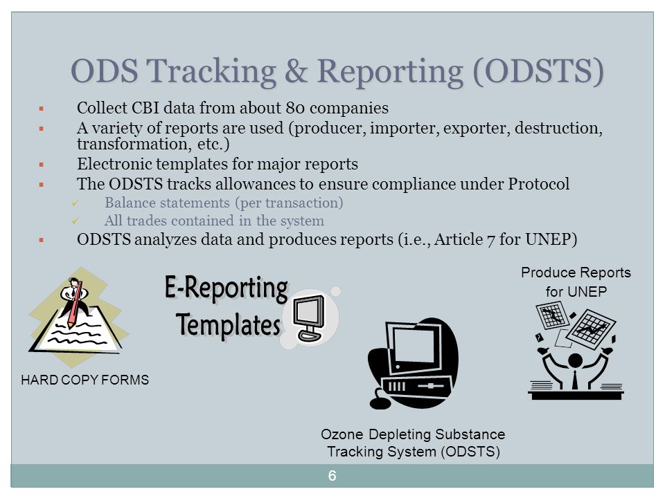 ODS Tracking & Reporting (ODSTS)  Collect CBI data from about 80 companies  A variety of reports are used (producer, importer, exporter, destruction, transformation, etc.)  Electronic templates for major reports  The ODSTS tracks allowances to ensure compliance under Protocol Balance statements (per transaction) All trades contained in the system  ODSTS analyzes data and produces reports (i.e., Article 7 for UNEP) HARD COPY FORMS Ozone Depleting Substance Tracking System (ODSTS) Produce Reports for UNEP 6