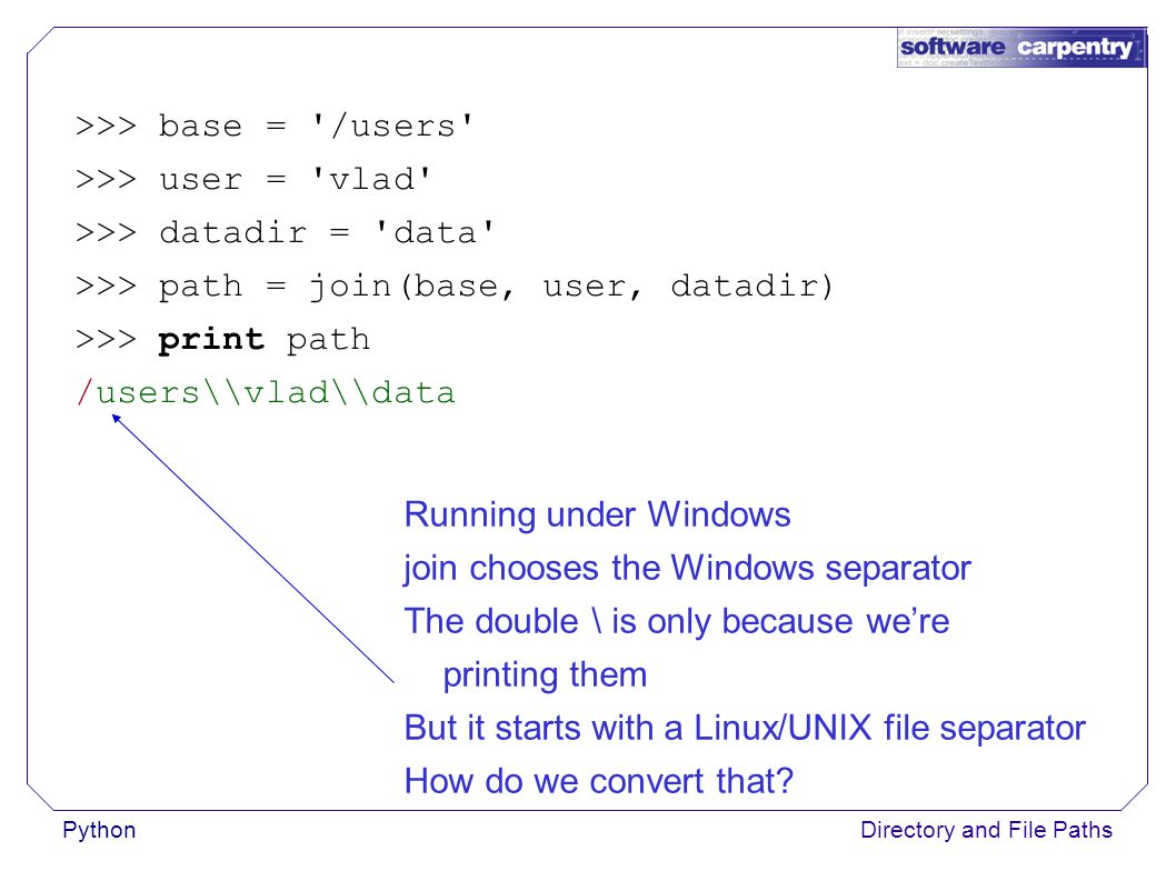 PythonDirectory and File Paths >>> base = /users >>> user = vlad >>> datadir = data >>> path = join(base, user, datadir) >>> print path /users\\vlad\\data Running under Windows join chooses the Windows separator The double \ is only because we're printing them But it starts with a Linux/UNIX file separator How do we convert that?