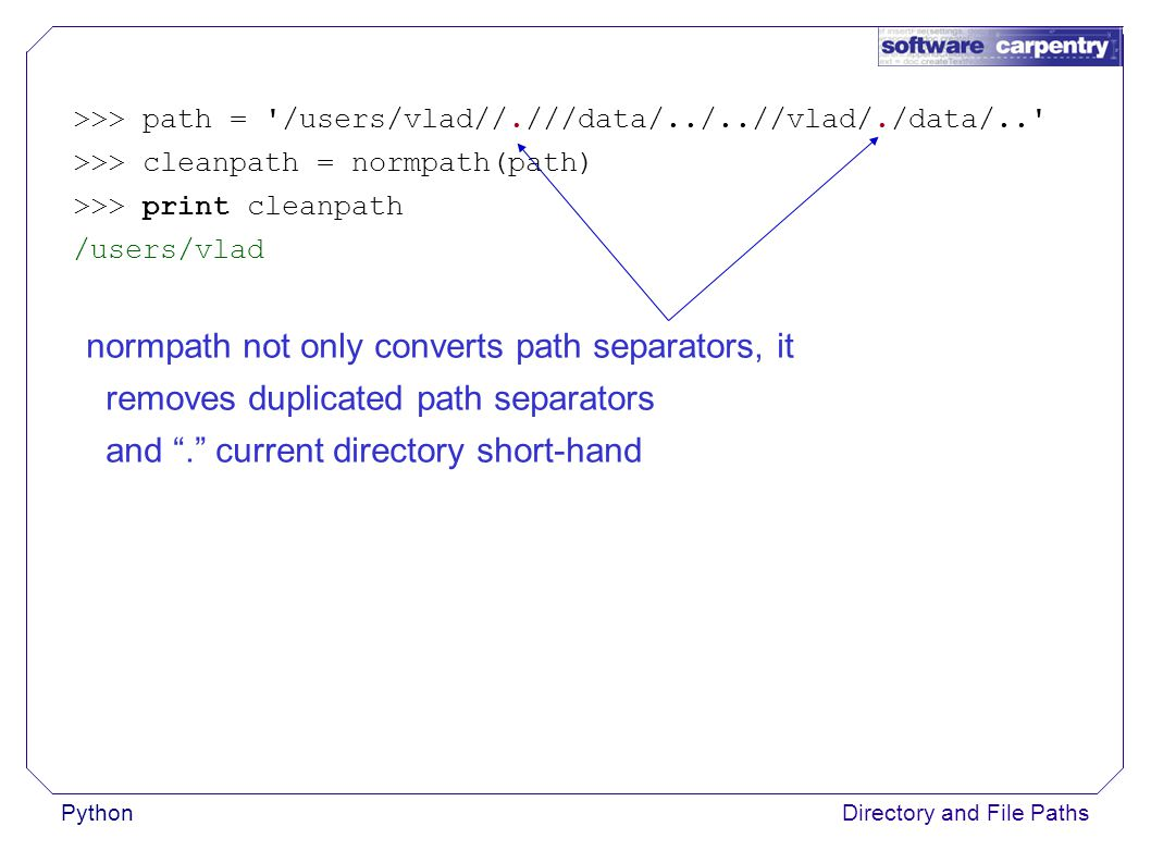 PythonDirectory and File Paths >>> path = /users/vlad//.///data/../..//vlad/./data/.. >>> cleanpath = normpath(path) >>> print cleanpath /users/vlad normpath not only converts path separators, it removes duplicated path separators and . current directory short-hand
