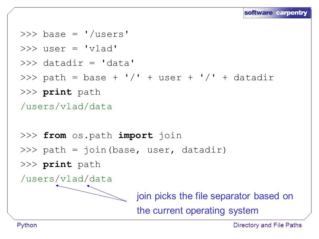PythonDirectory and File Paths >>> base = /users >>> user = vlad >>> datadir = data >>> path = join(base, user, datadir) >>> print path /users\\vlad\\data Running under Windows