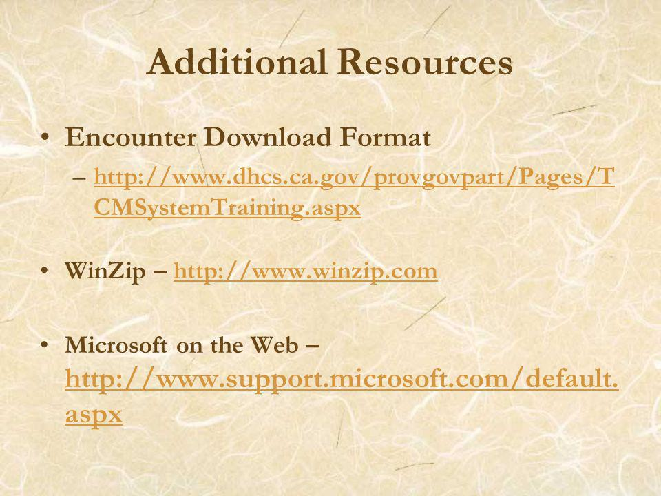 Additional Resources Encounter Download Format –http://www.dhcs.ca.gov/provgovpart/Pages/T CMSystemTraining.aspxhttp://www.dhcs.ca.gov/provgovpart/Pages/T CMSystemTraining.aspx WinZip – http://www.winzip.comhttp://www.winzip.com Microsoft on the Web – http://www.support.microsoft.com/default.