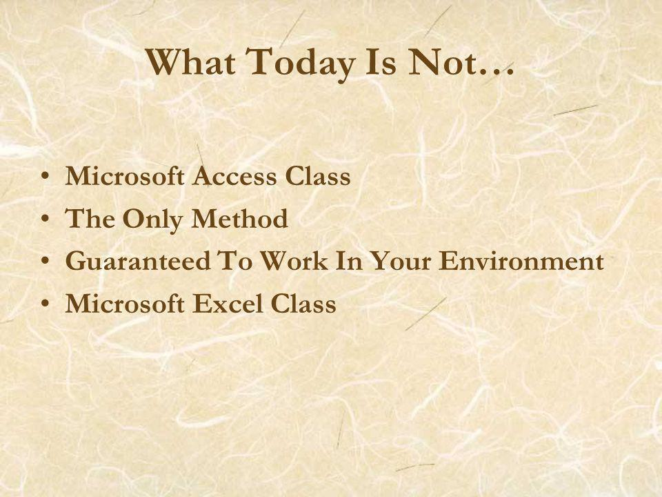 What Today Is Not… Microsoft Access Class The Only Method Guaranteed To Work In Your Environment Microsoft Excel Class
