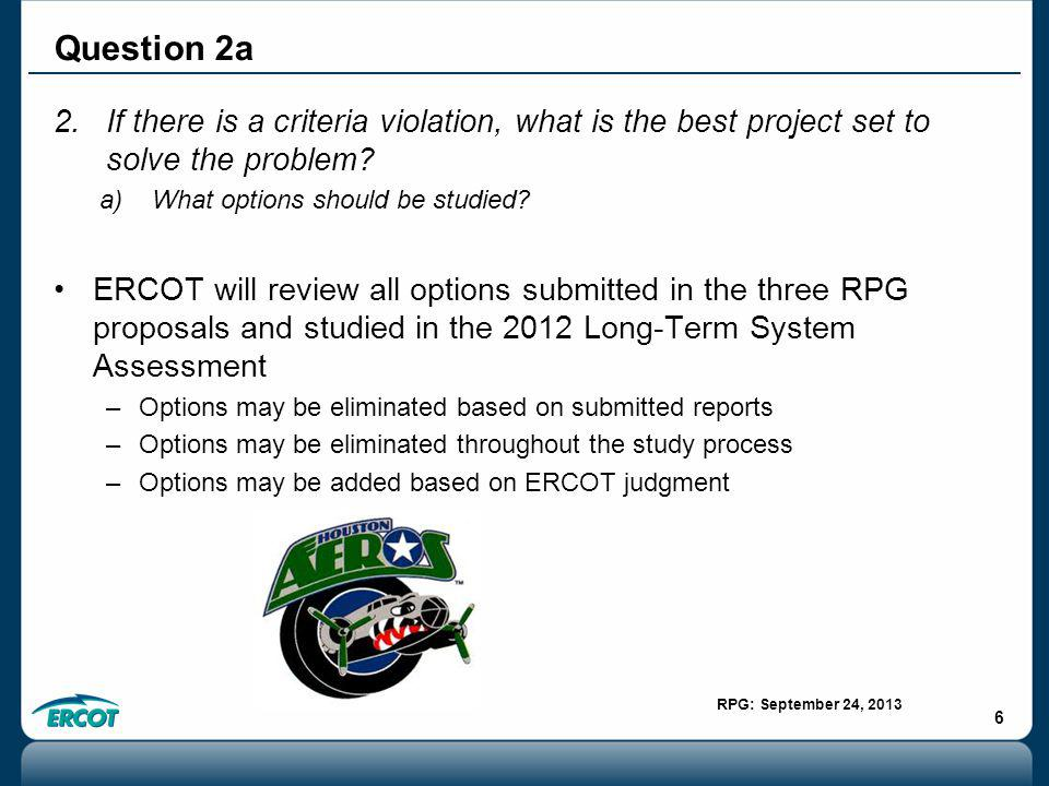 RPG: September 24, 2013 6 2.If there is a criteria violation, what is the best project set to solve the problem.