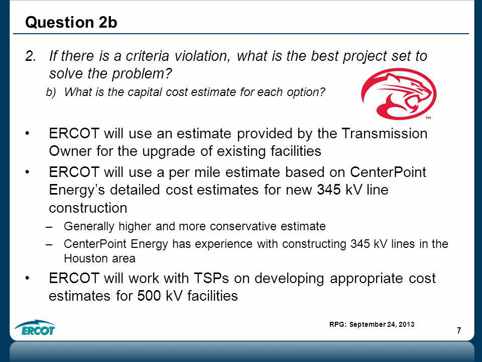 RPG: September 24, 2013 7 2.If there is a criteria violation, what is the best project set to solve the problem.