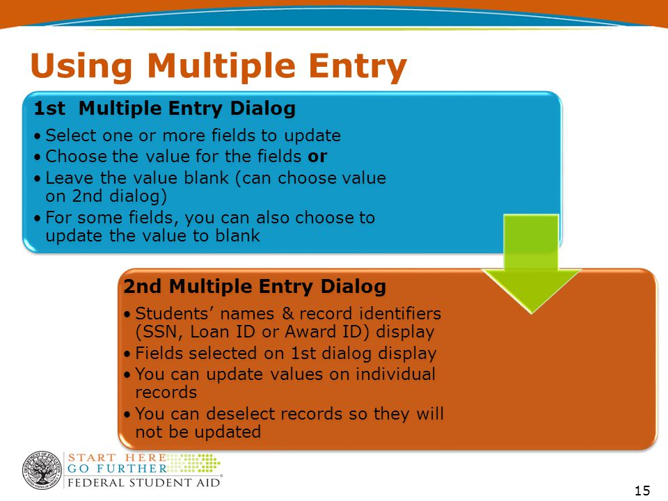 Using Multiple Entry 1st Multiple Entry Dialog Select one or more fields to update Choose the value for the fields or Leave the value blank (can choose value on 2nd dialog) For some fields, you can also choose to update the value to blank 2nd Multiple Entry Dialog Students' names & record identifiers (SSN, Loan ID or Award ID) display Fields selected on 1st dialog display You can update values on individual records You can deselect records so they will not be updated 15