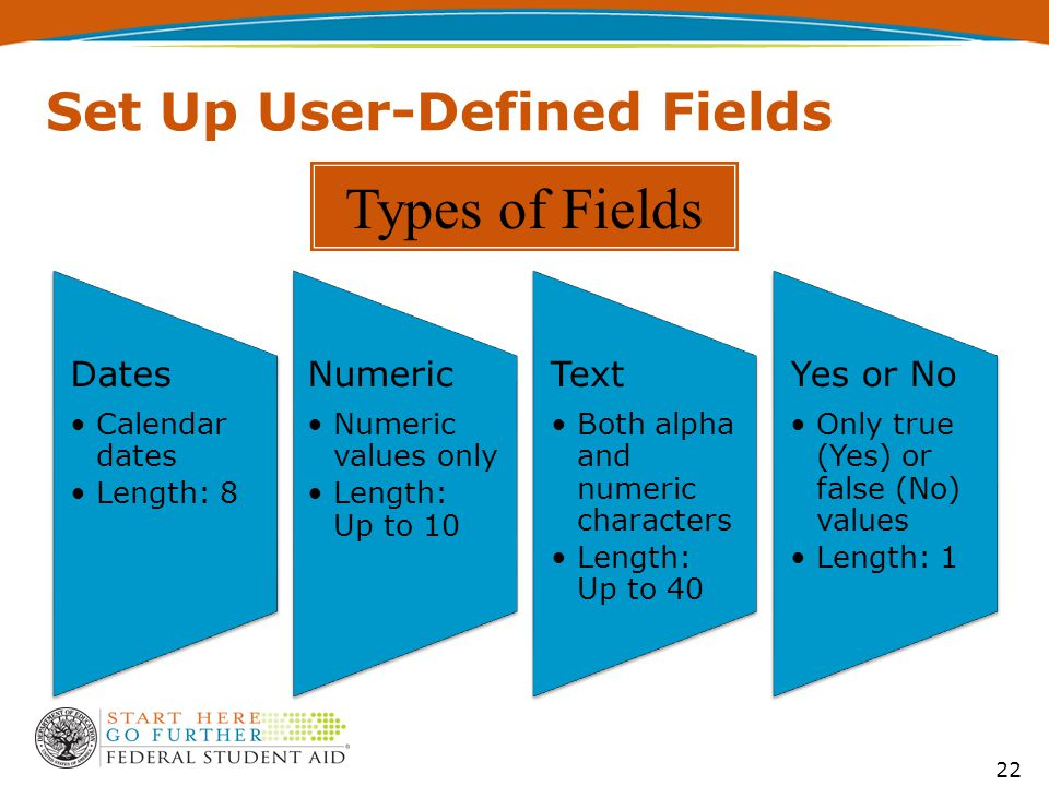Set Up User-Defined Fields 22 Dates Calendar dates Length: 8 Numeric Numeric values only Length: Up to 10 Text Both alpha and numeric characters Length: Up to 40 Yes or No Only true (Yes) or false (No) values Length: 1 Types of Fields