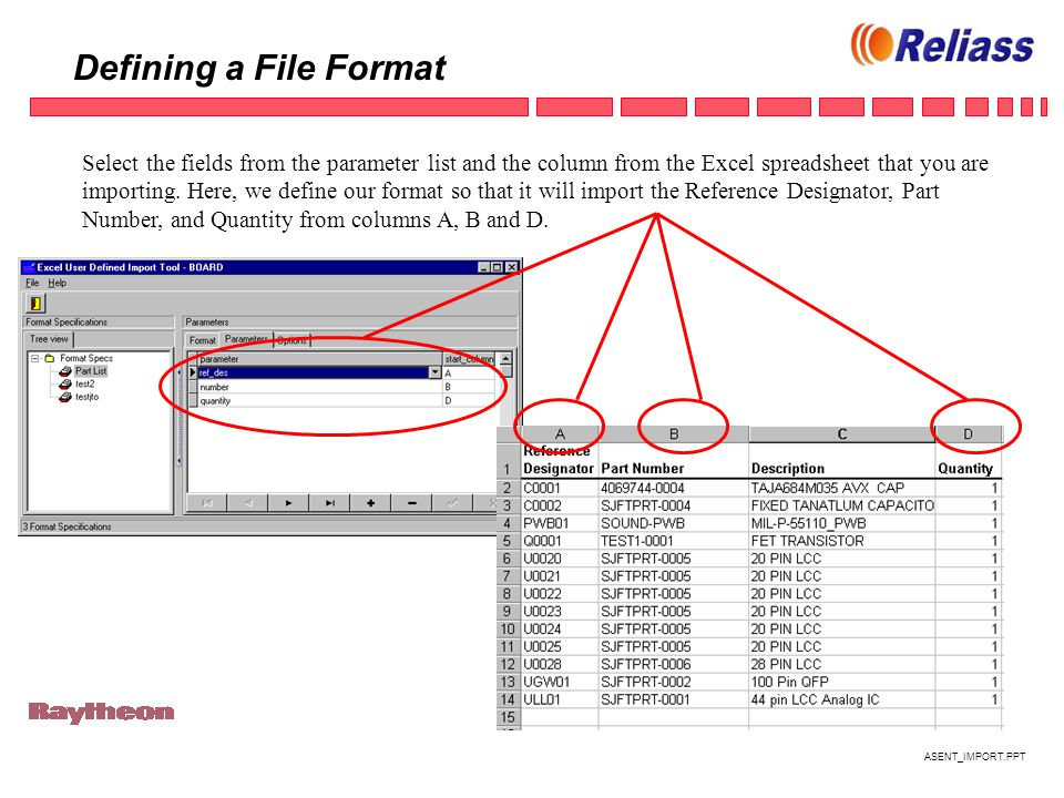 ASENT_IMPORT.PPT Defining a File Format Select the fields from the parameter list and the column from the Excel spreadsheet that you are importing.