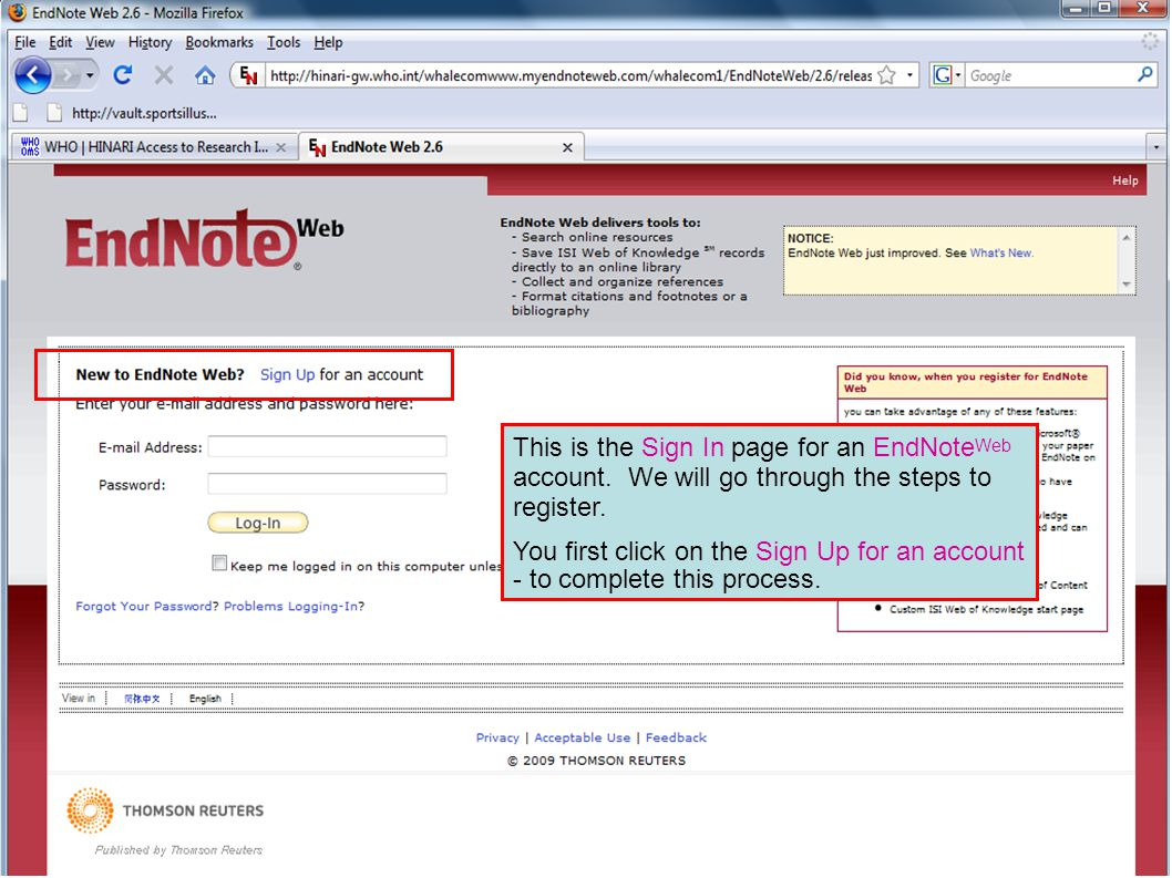 This is the Sign In page for an EndNote Web account.