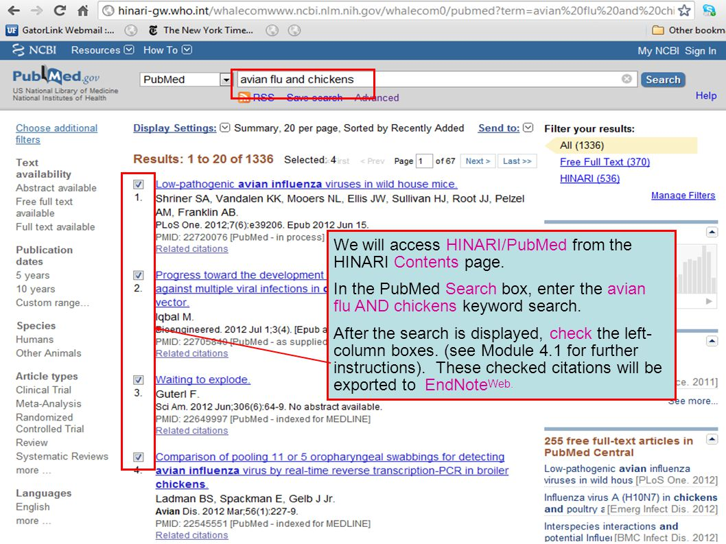 We will access HINARI/PubMed from the HINARI Contents page.