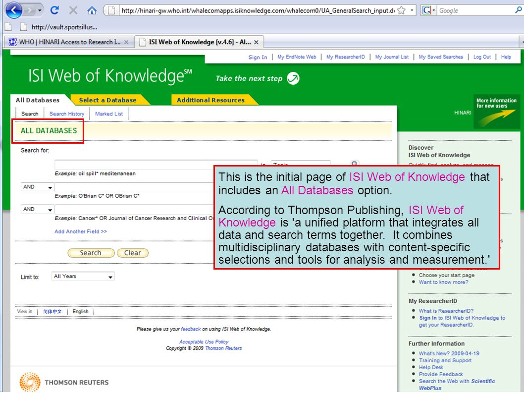 This is the initial page of ISI Web of Knowledge that includes an All Databases option.
